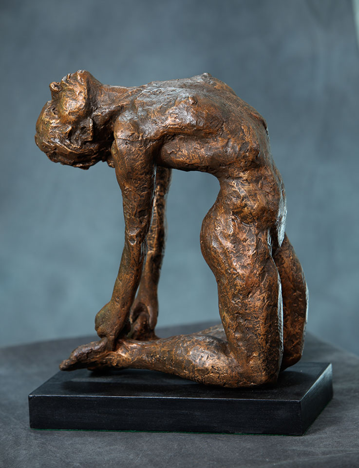 "Female in full bow yoga pose also known as camel pose in cast resin 16""x5.5""x10"""