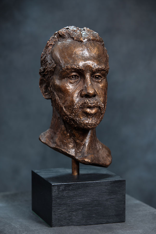 "Bearded male bust in cast resin 19""x7""x7"""
