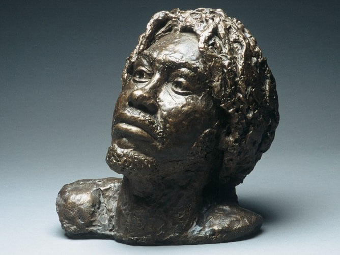Bust of male from the Caribbean in painted plaster cast by William Casper.