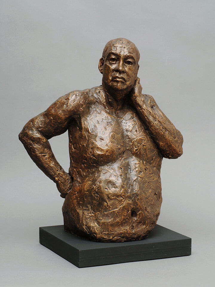 Portly male torso waist high with hand on hip and neck in cast resin by William Casper