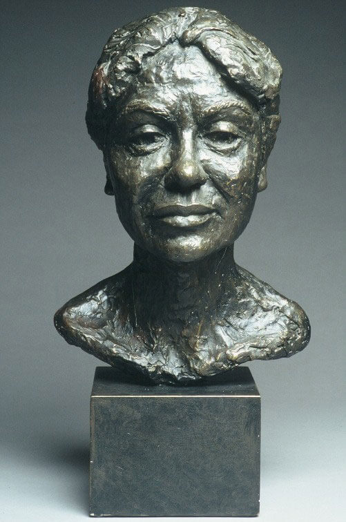 Bust of Pakistani woman by William Casper in painted plaster cast..