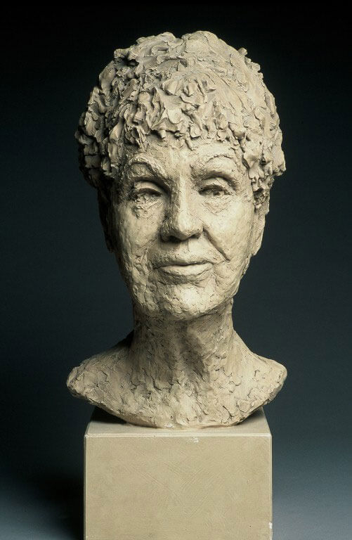 Bust of older woman in painted plaster cast by William Casper.
