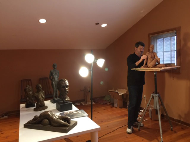Bill working on Line of Focus sculpture