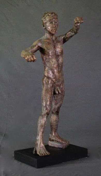 Standing male with clenched hands in cast resin by William Casper.