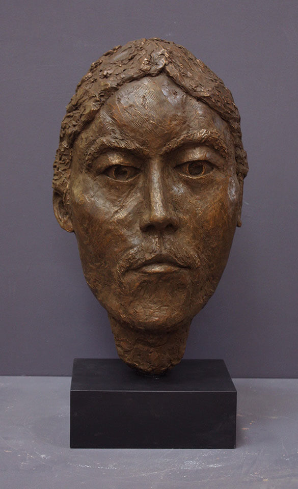 """Resolute - bronze bust sculpture of stylized male face 23"""" x 11"""" x 6.5"""""""