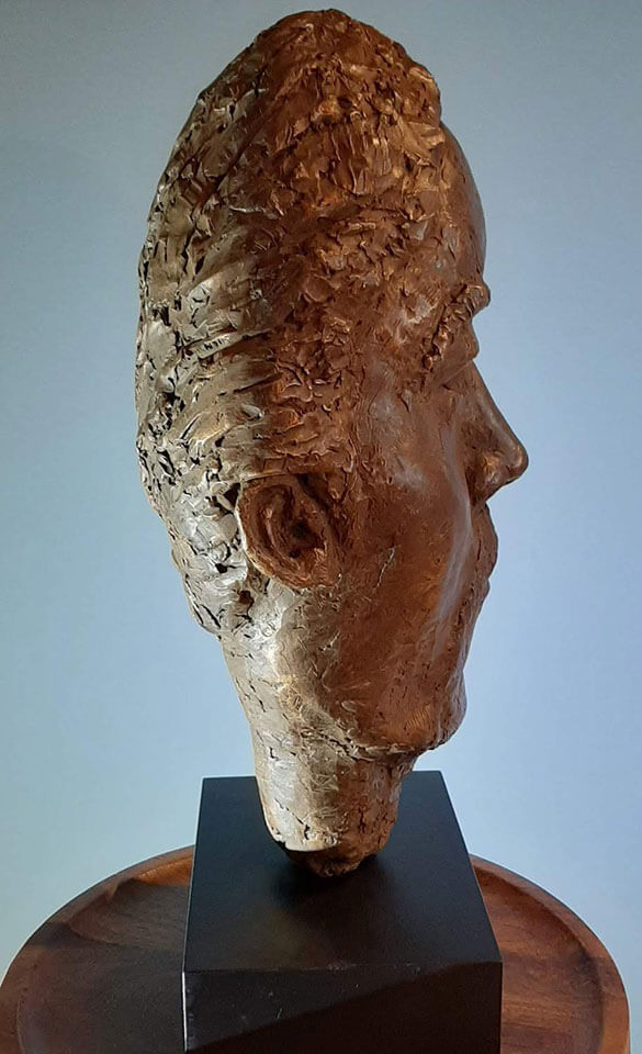 """Resolute - bronze bust sculpture stylized male face side view 23"""" x 11"""" x 6.5"""""""